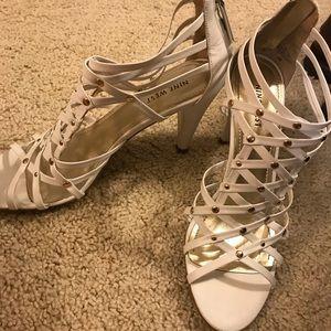White caged Nine West heels